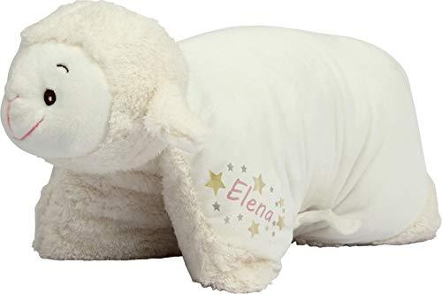 Kuschelkissen Schaf personalisiert mit Namen - 2 in 1 Kuscheltier XXL und Kissen - Kopfkissen in Tierform für Kinder und Erwachsene - Tierkissen Kinderkissen Geschenk für Junge Mädchen Baby (Rosa)