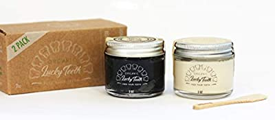 Lucky Teeth Organic toothpaste- MIXED in GLASS jars -Charcoal + Regular (White) -all Natural, Remineralizes and Fortifies Teeth and Gums. Zero Waste Packaging (2 Bottles) (2 OZ, MIXED)