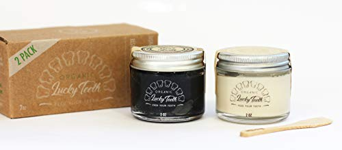 Lucky Teeth Organic Toothpaste- Mixed in Glass Jars -Charcoal + Regular (White) -All Natural,...