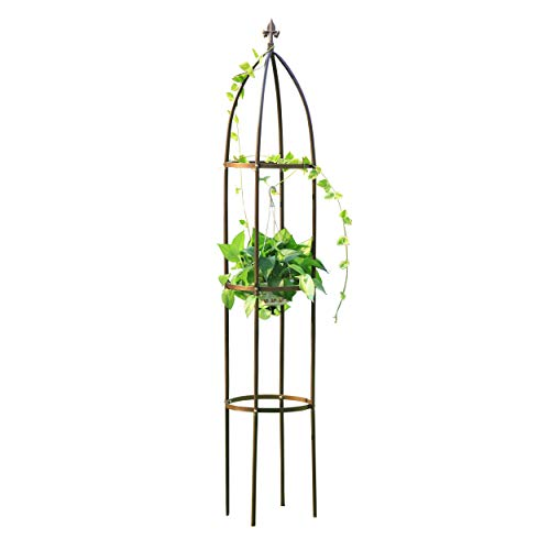 GardenMate® Rankhilfe Obelisk Bronze Höhe 190cm Ø 35cm Massiv Pulverbeschichtetes Stahl