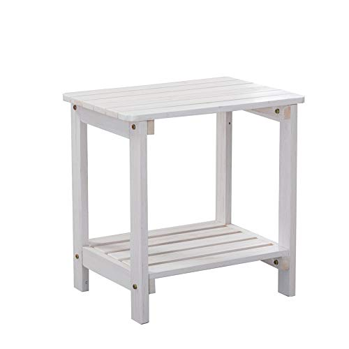 B&Z KD-50W Outdoor Porch Wooden Side Table Rectangular Rustic Storage White-Apricot