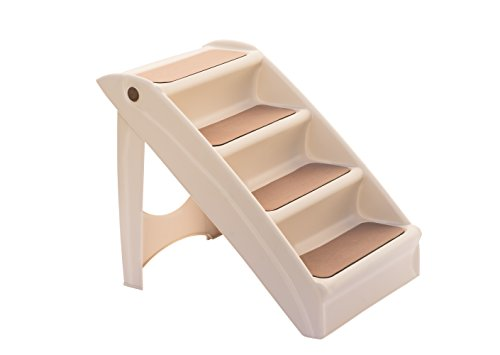 UPP Hundetreppe Deluxe | 50cm hohe, 4-stufige Treppe für Hunde bis 30 kg | Klappbare Hunderampe für Auto und Innenbereich [Beige]