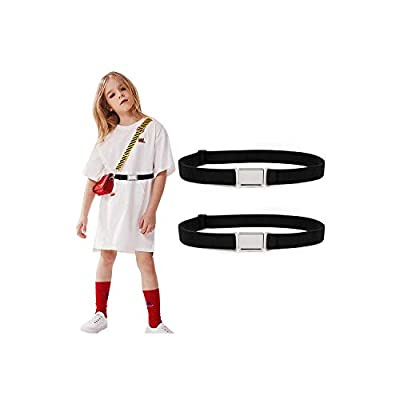2 Pack Kids Adjustable Magnetic Belt Boys Girls Elastic Belt with Easy Magnetic Buckle By XZQQTIVE, Black+Black, Fit Pants 15-28inch