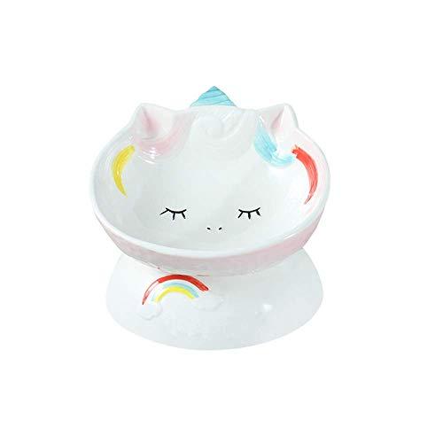 Cuencos para gatos elevados de cerámica rosa unicornio,cuencos elevados inclinados para comida o agua,sin estrés,prevención de reflujo,aptos para lavavajillas y microondas,sin plomo ni cadmio
