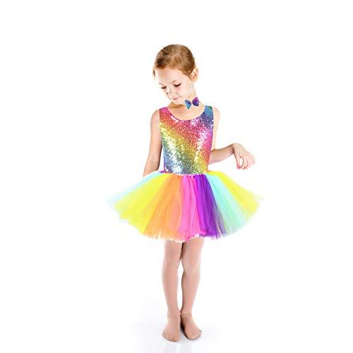 Rainbow Sequin Dress Girls Unicorn Tutu Dress Party Dress with Bow Tie for Unicorn Party Wedding Dancing