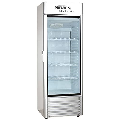 Premium Levella PRF125DX Single Door Merchandiser Refrigerator-Upright Beverage Cooler-12.5 Cu Ft-Silver