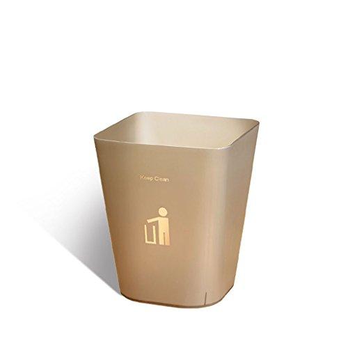 PRIDE Transparante matte vierkante keuken prullenbak thuis zonder deksel woonkamer slaapkamer badkamer bureau creatief papier mand (Color : Brown, Size : 6.4L)