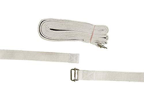 Cinturón de Yoga Largo – 300 cm – 100% algodón – Equipo estándar para Yoga Iyengar – Equipado con una Barra Deslizante Extra Fuerte Hebilla de Metal – Original Iyengar Yoga Medidas – Yoga Props