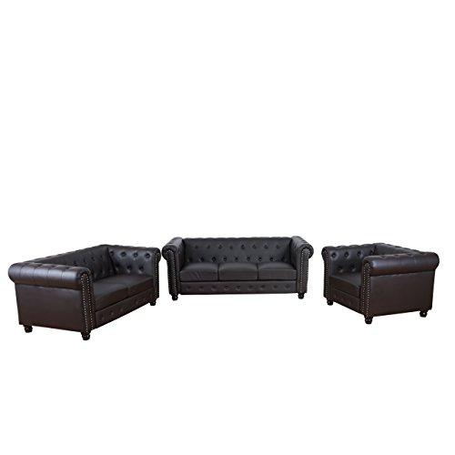 Mendler Luxus 3-2-1 Sofagarnitur Couchgarnitur Loungesofa Chesterfield Kunstleder ~ runde Füße, braun