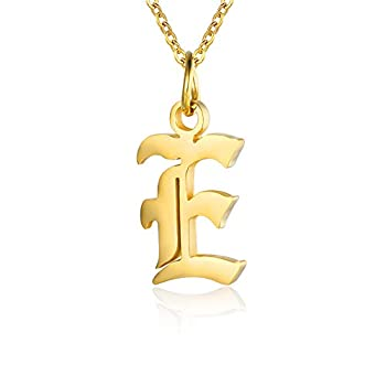 Letter Necklaces for Women Personalized Necklaces 18K Gold Plated Initial Pendant Old English Name Necklaces A-Z Bridesmaid Gift for Girls  E