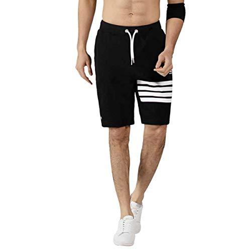 Men's UK Casual Active Elastic Fleece Jogger Basketball Relexed Fit Gym Cargo Shorts Reflective Print (L, Black)
