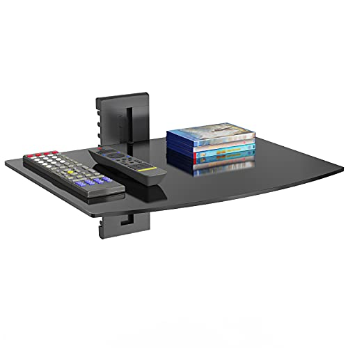 WALI CS201B Floating Wall Mounted Shelf with Strengthened Tempered Glasses for DVD Players,Cable Boxes, Games Consoles, TV Accessories, 1 Shelf, Black
