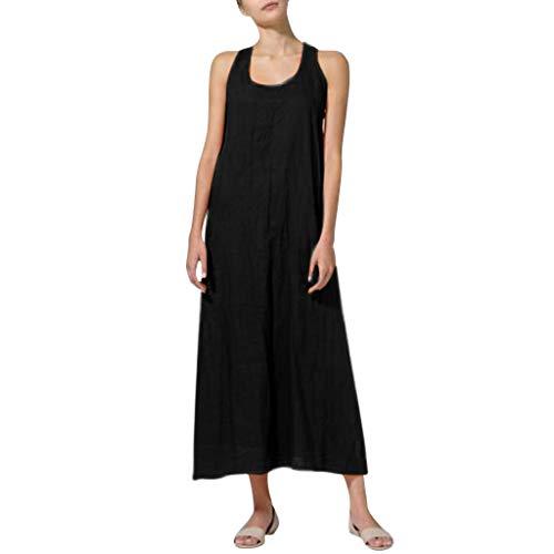 Longra?? Moda para Mujer Verano Sin Mangas Cuello Redondo Falda Suelta Casual Breve Color sólido Vestido de Lino de algodón