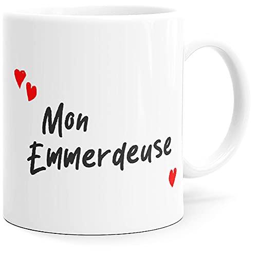 """Taza con texto en inglés """"Mon Emmerador"""", idea de regalo original para amigos, pareja, enamorados, colegios, hermanas, esposas, prometida, cumpleaños, San Valentín, Navidad, fiestas, etc."""