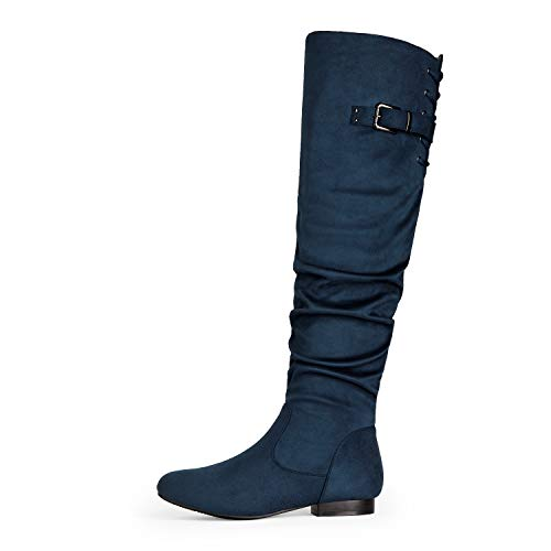 DREAM PAIRS Women's Colby Blue Over The Knee Pull On Boots - 8 M US