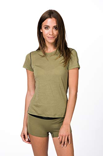 super.natural Dünnes Damen Kurzarm T-Shirt, Mit Merinowolle, W BASE TEE 140, Beige/Khaki, M
