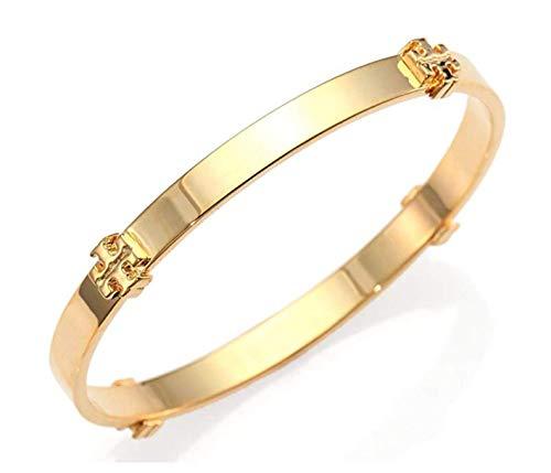 Tory Burch Logo Bangle Bracelet Gold, 2 1/2' diameter