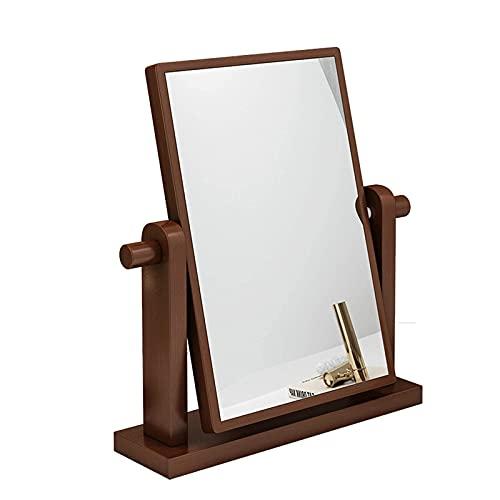 BAQQ Espejo de Maquillaje de tocador de Escritorio, tocador con rotación de 360 ° Espejo Rectangular, Espejo portátil Espejo abatible para Dormitorio Espejo de Afeitado de Escritorio Ajustable