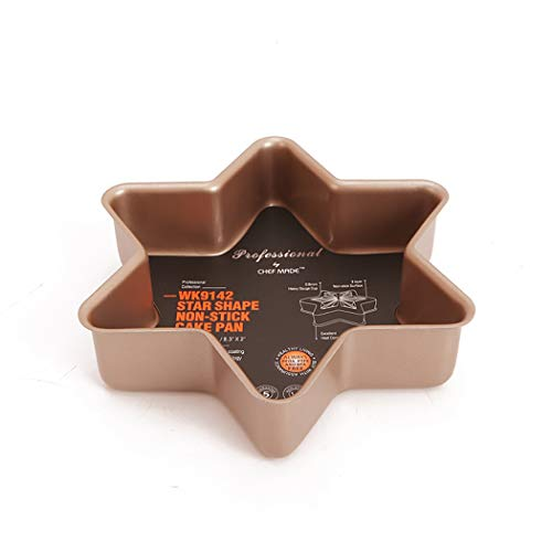 Christmas snowflake hexagonal cheese mousse cake mould golden non-stick baking pan baking mould (dimension: size 8.3 inches × width 8.3 inches × top 2 inches)