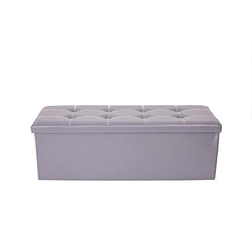 Rebecca Mobili Pouf otomano, asiento plegable, puf contenedor gris con tapa, resistente- Medidas: 38 x 110 x 38 cm ( AxANxF) - Art. RE4911