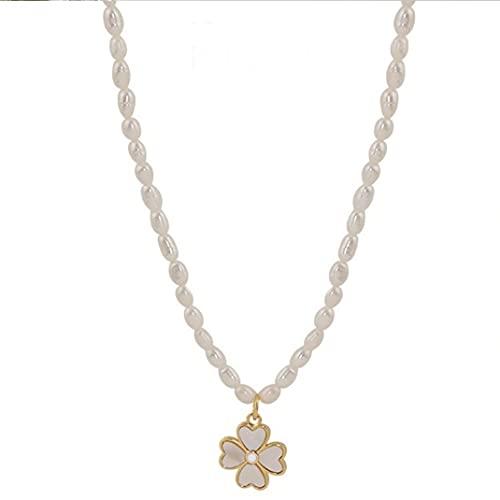 Collar de Mujer antialérgico Collar de Perlas de trébol Vintage Gargantilla Collar cumpleaños Regalo de Boda