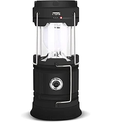 Lámpara solar LED de camping XVZ, portátil, linterna de camping, linterna recargable USB y micro puerto, lámpara de camping IPX4, impermeable, para tienda de campaña, emergencia, senderis, color negro