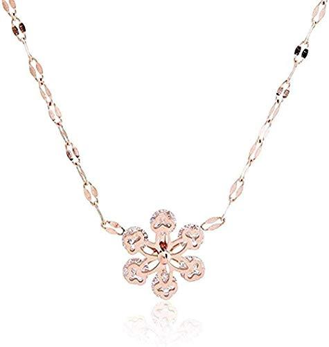 Yiffshunl Collar Moda Copo de Nieve Titanio Acero Diamante Edelweiss Labios Regalos de Fiesta