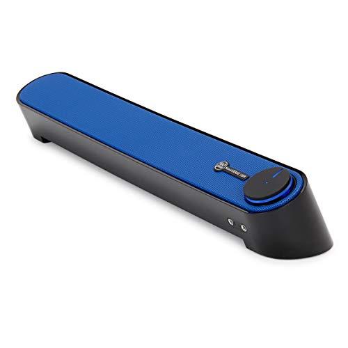 GOgroove Soundbar Lautsprecher für Computer: Tragbarer 2.0 Stereo Speaker mit eingebauten Sound Ports, beleuchtetem LED Power-Knopf, USB betrieben, für PCs, Laptops & Notebooks, Blau