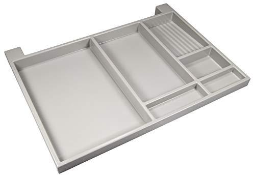 Gedotec NINKA wysuwana półka na biurko, akcesoria do szuflad, całkowicie wysuwana, 566 x 390 x 36 mm, wysuwana półka na biurko: biało-szara okucia meblowe, 1 para – wysuwane szuflady do montażu pod szafką