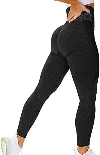 QOQ Women's Seamless Leggings High Waist Gym Running Vital Yoga Pants Butt Lift Workout Tights Tummy Control