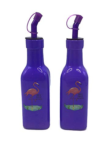 Desconocido Juego de Aceitera y Vinagrera de Cristal con Colores Paradisiacos (Morado Flamenco, 190 ml)