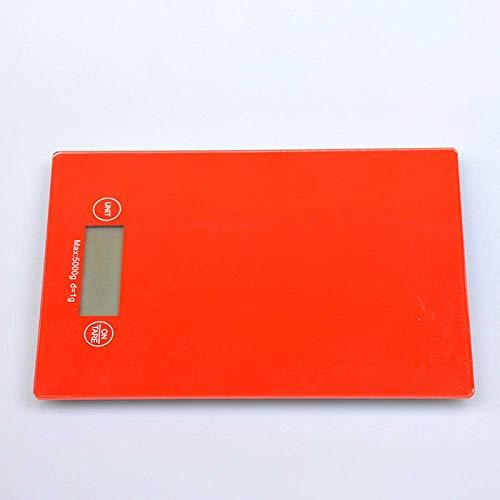HTL Escalas de Cocina Digital Cocina de Vidrio Escala de Cocina 5Kg / 1G Pesando Pequeño 15 Pesaje Electrónico de Precisión,Rojo