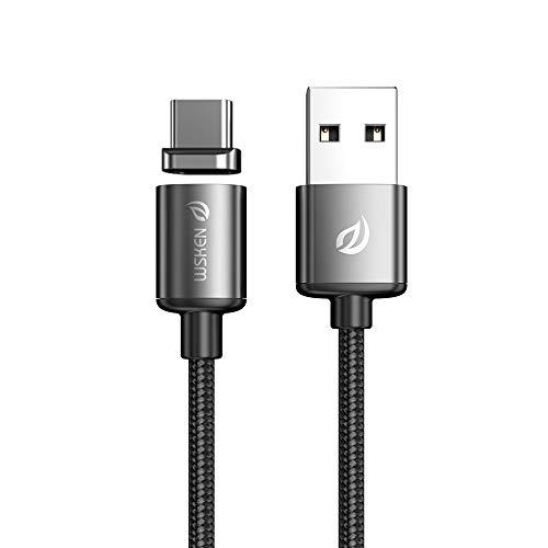 WSKEN Magnet USB C Ladekabel 1,2M 2,4A High Speed Sync und Schnellladekabel kompatibel mit Huawei Mate20pro(USB C)