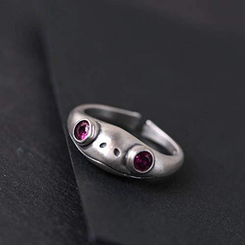 S925 Silber Retro Matt Thai Silber Ring Damenmode Matt Frosch Offener Ring, WOZUIMEI, Ring öffnen