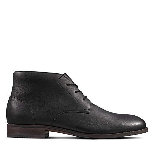 Clarks Herren Flow Top Chukka Boots, Schwarz (Black Leather Black Leather), 45 EU
