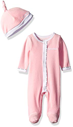 Calvin Klein Boys Baby Girls' Infant Gift Set, 2 Piece Velour - White, Pink, 3-6 Months