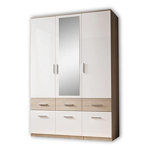 Stella Trading BOX Eleganter Kleiderschrank mit Spiegel & Schubladen - Geräumiger Drehtürenschrank in Sonoma Eiche Optik, Weiß - 135 x 198 x 55 cm (B/H/T)