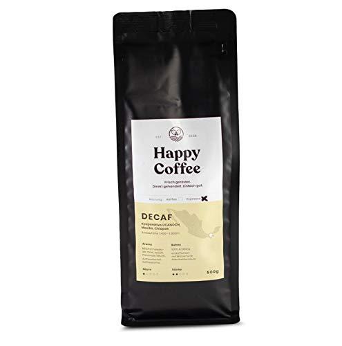HAPPY COFFEE Entkoffeinierte Bio Espressobohnen [DECAF] |Schokoladig, Mild & Säurearm | Für Espresso & Kaffeevollautomaten | Ganze Bohne (500 GR)