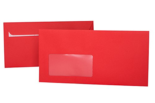 50 Envelopes, Envelopes DIN Long 110 x 220 cm (11 x 22 cm) with Adhesive Strips/Peel-Off Strips and Window - Red