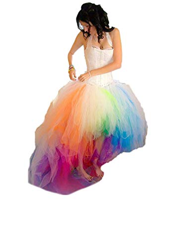 CoCogirls Schatz Bunt Brautmoden Regenbogen Meerjungfrau Hochzeitskleid Prom Ballkleid (42, Bunt)
