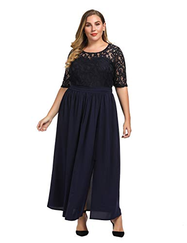 Chicwe Women's Plus Size Guipure Lace Maxi Dress - Wedding Party Cocktail Dress with