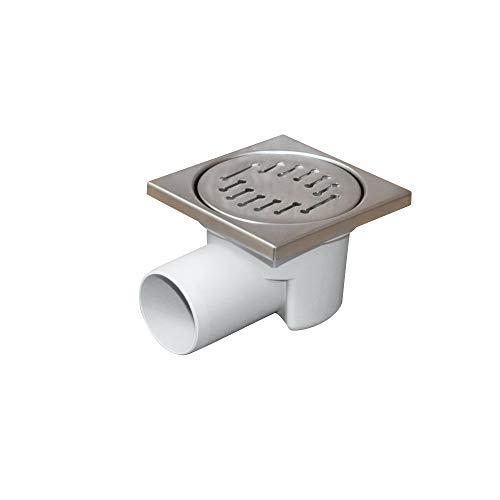Bodenablauf - Duschablauf 100x100mm Ø 50, Edelstahlrost boden abfluss senkrecht (Winkel 50 mm Strich Gitter)