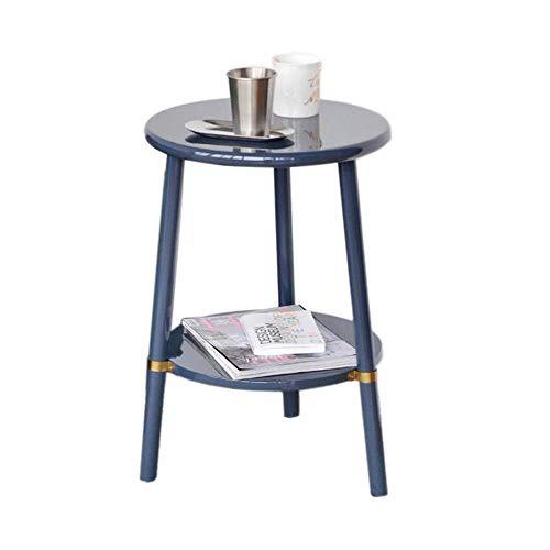 XBR Kaffee-Snack-Tisch, Tische Runder Beistelltisch, Nachttisch, Sofa-Tisch Couchtisch, Hochglanz-Klavierfarbe, 2 Schichten, 2 Farben Couchtisch Farbe: Indigo, Größe: 15.7423.62in