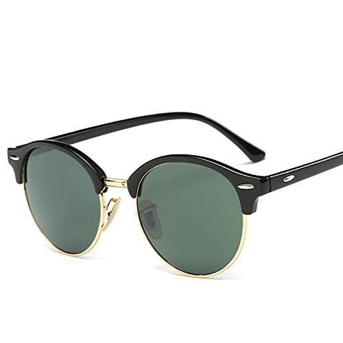 qiufeng Retro Vintage Sonnenbrille im angesagte 60er Browline-Style mit markantem Halbrahmen Sonnenbrille dunkelgrün