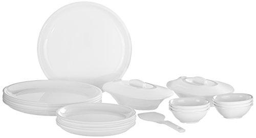 Signoraware Round Dinner Set, 23 Pieces, White, Plastic