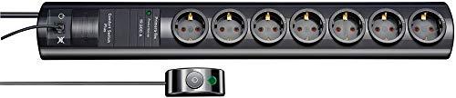 Brennenstuhl Primera-Tec Comfort Switch Plus, Steckdosenleiste 7-fach mit Überspannungsschutz (2m Kabel, Schalter und RJ-11-Verbindung) schwarz