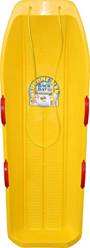 Back Bay Play Lifetime Snow Racer Two-Rider Downhill Outdoor - Toboggan Sled for Kids and Adults -Durable Sleds for Winter Sledding - Ages 5 and Up- Made in USA (Electric Yellow)