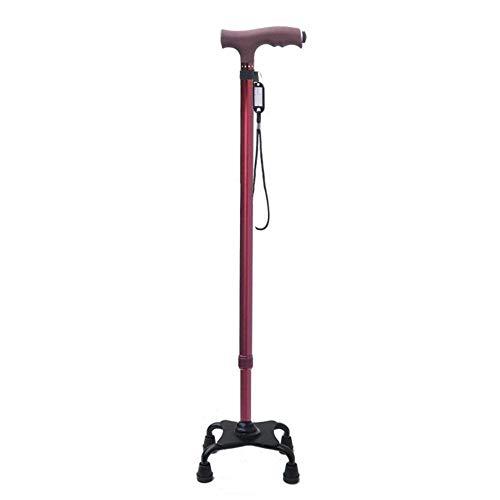 Andador con Andador, bastón para Ancianos, Multifuncional, Luminoso, bastón cuadrúpedo, telescópico, Antideslizante, bastón, Andador, Rojo, Negro