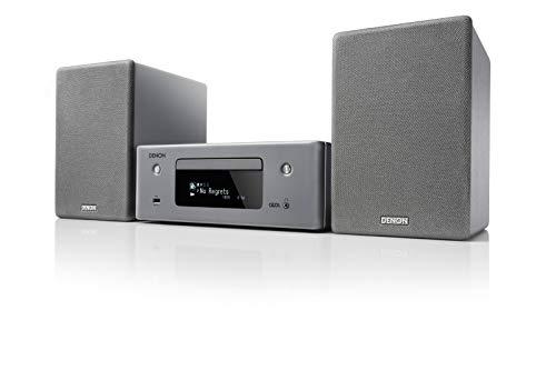 Denon CEOL N-10 Kompaktanlage, HiFi Verstärker, CD-Player, Internetradio, Musikstreaming, HEOS Multiroom, Bluetooth & WLAN, AirPlay 2, Alexa Kompatibel, 2 Optische TV-Eingänge, mit Lautsprecher, grau