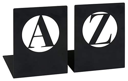 moses. Buchstützen-Set A & Z modern libri_x , 2er Set Buchständer aus Metall , Zwei schwarze Metall-Buchstützen im Set mit wunderschön ausgestanzten Buchstaben